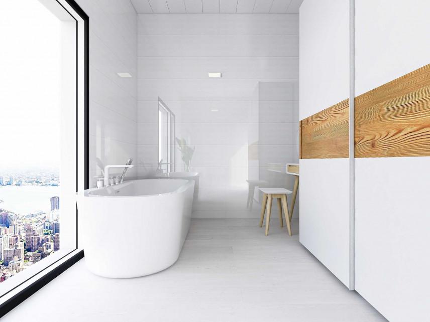 Mała, biała łazienka z widokiem