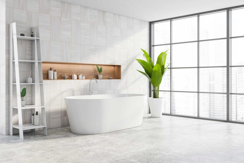 Loftowa łazienka z betonową podłogą