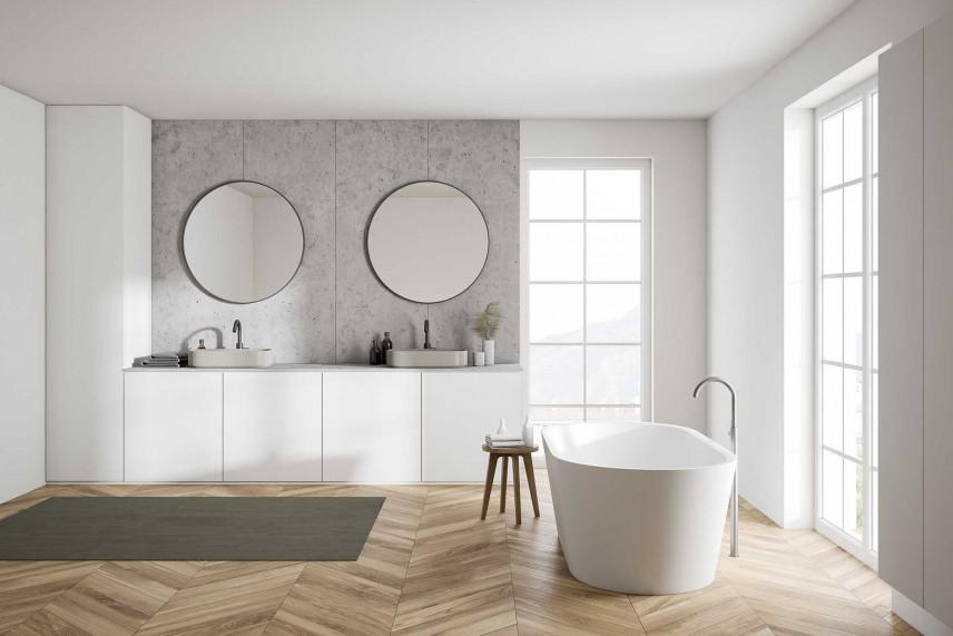 Biało-szara łazienka w stylu skandynawskim
