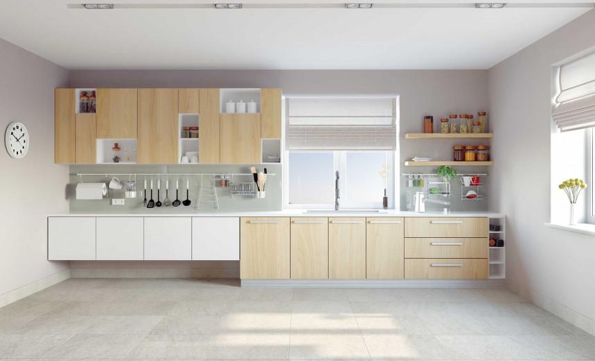 Biała kuchnia z drewnianymi frontami