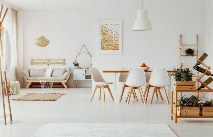 Salon z jadalnią w stylu skandynawskim