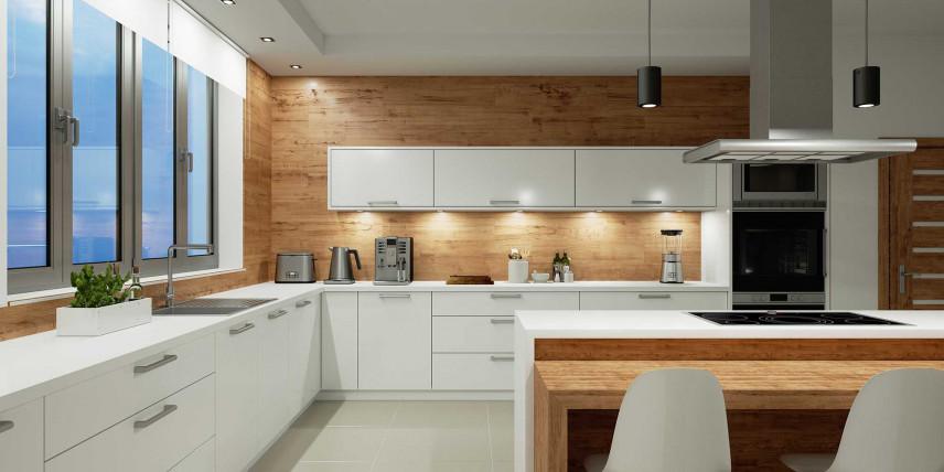 Nowoczesna kuchnia z drewnianą ścianą
