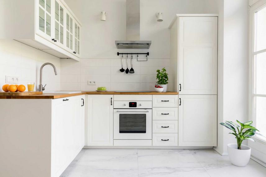 Biała kuchnia narożna