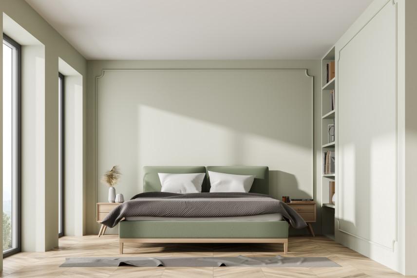 Zielono-drewniane łóżko