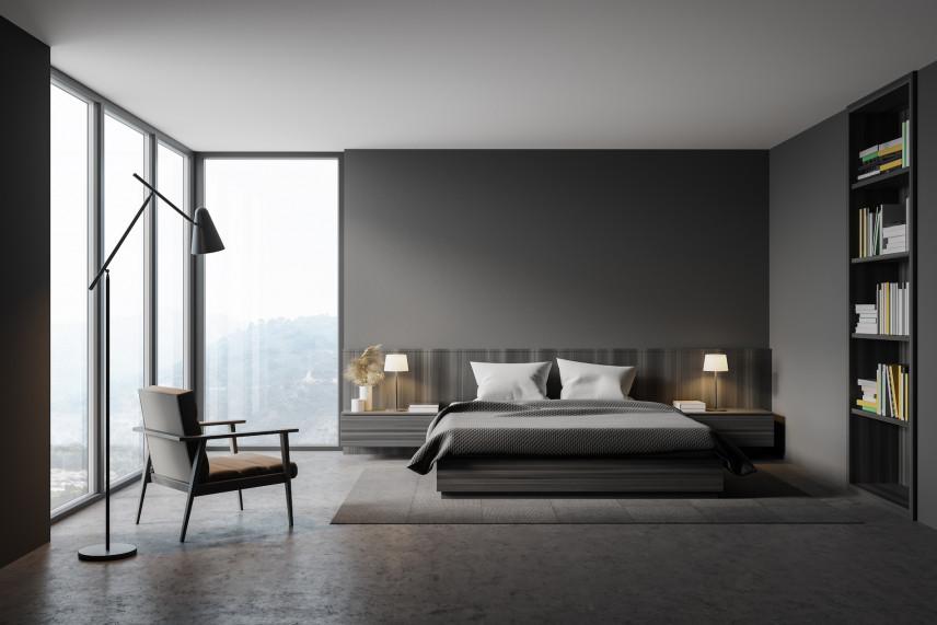 Projekt sypialni w szarości