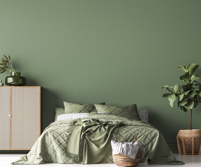 Zielony kolor w sypialni