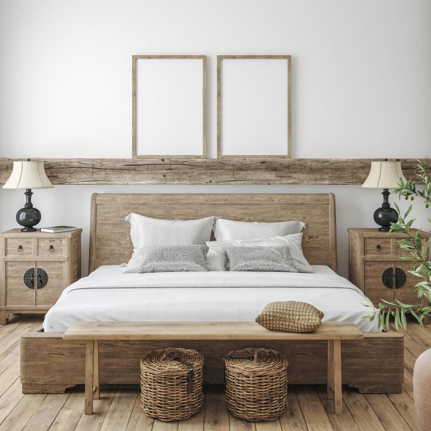 Elementy drewniane w sypialni