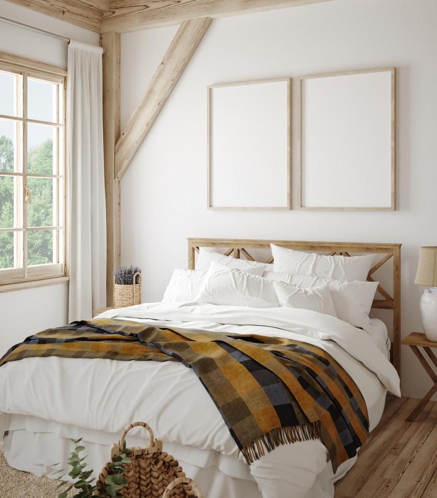 Aranżacja w sypialni z użyciem drewna