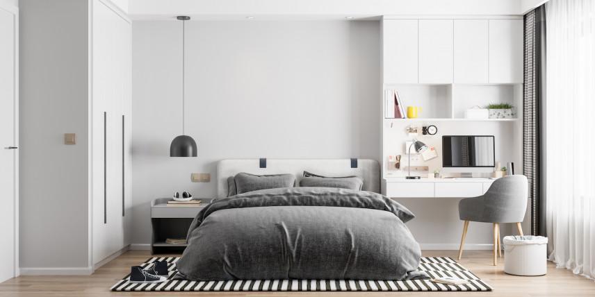 Czarno-biały dywan w sypialni