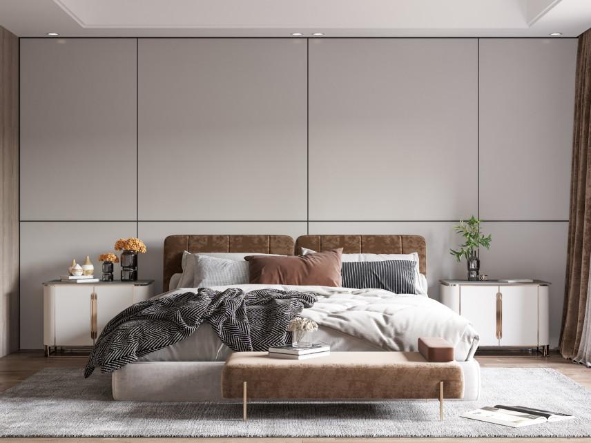 Brązowe łóżko tapicerowane