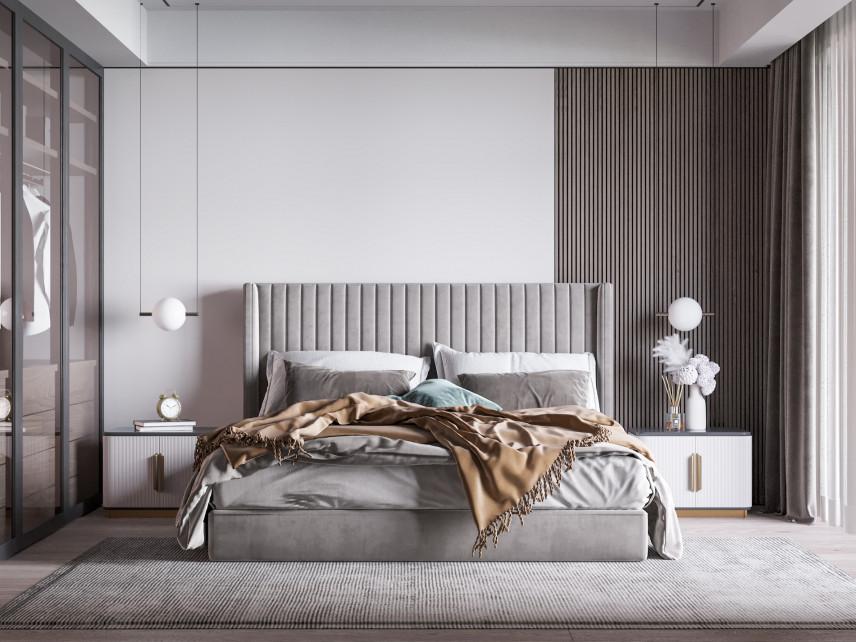Modne, szare tapicerowane łóżko
