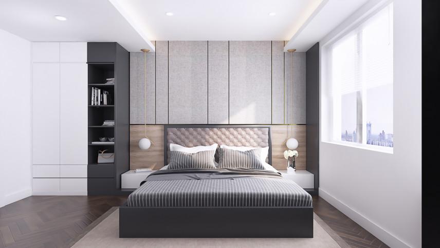 Projekt sypialni z aranżacją ściany w sypialni