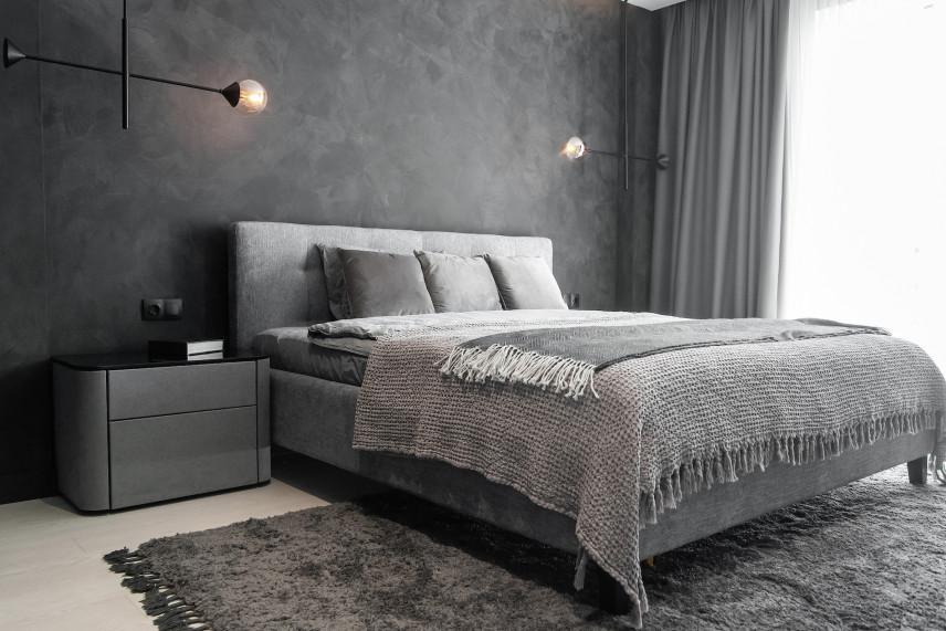 Stylowa sypialnia w szarości