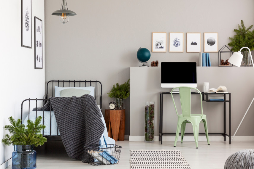 Projekt sypialni z miejscem do pracy