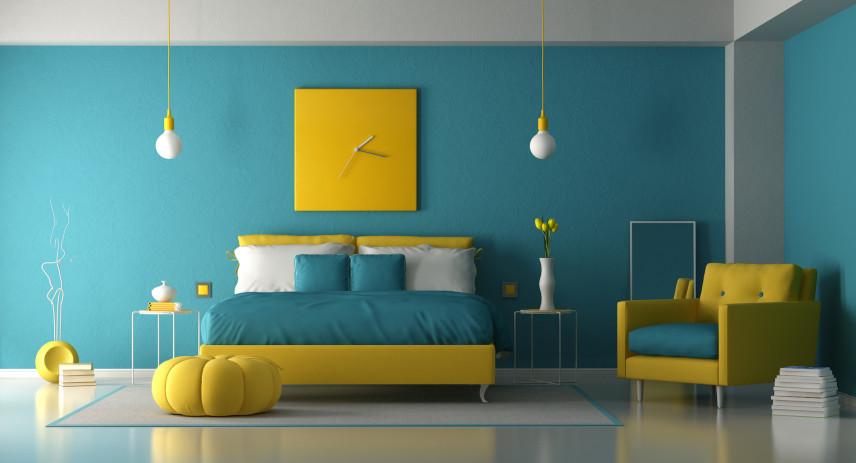 Żółto-niebieska sypialnia