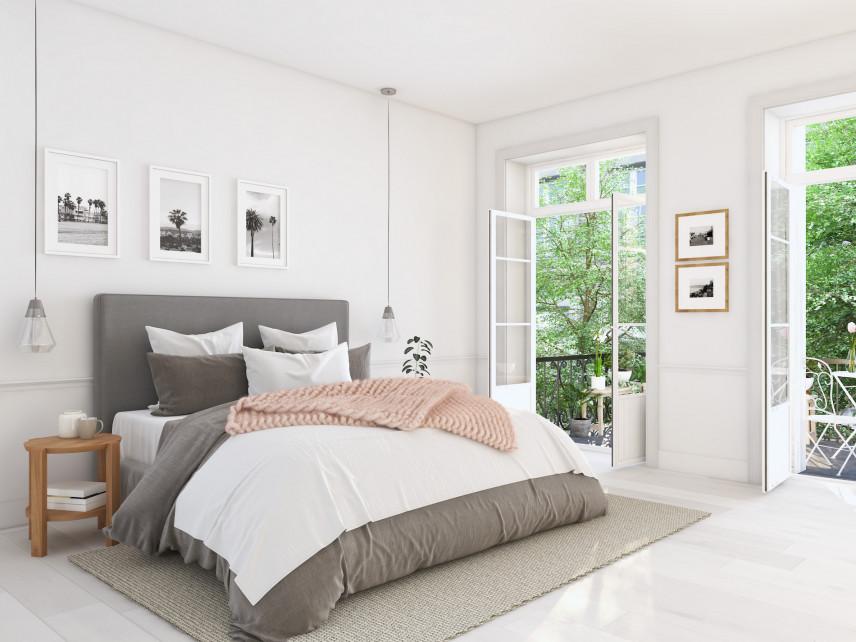 Aranżacja sypialni z białymi ścianami