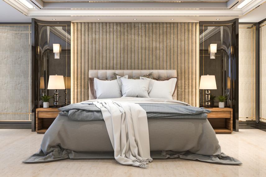 Projekt sypialni z ciekawą aranżacją ściany za łóżkiem