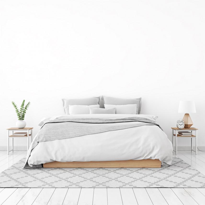 Projekt sypialni z białą podłogą