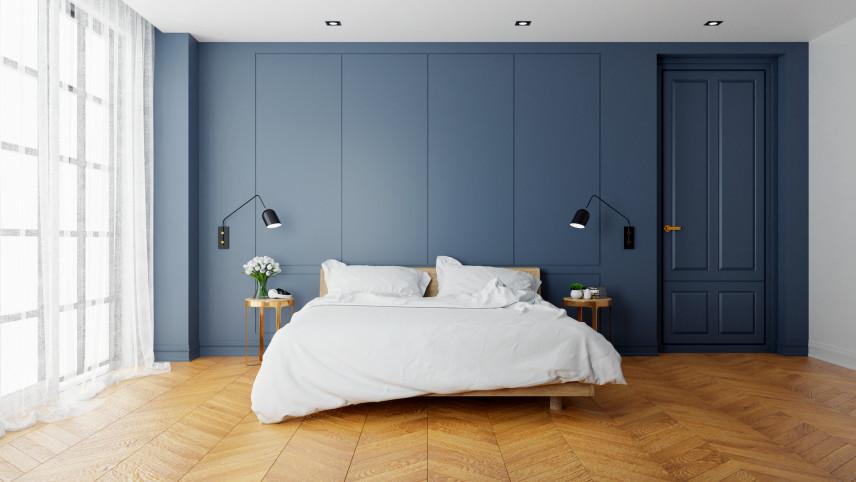Projekt sypialni z niebieskimi ścianami