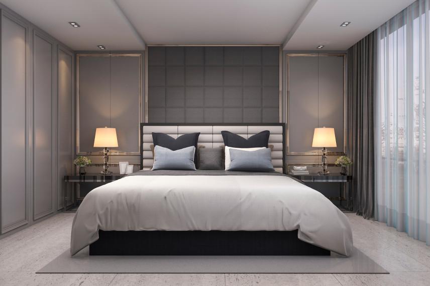 Projekt sypialni z dużym łóżkiem