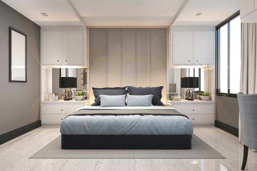 Projekt sypialni w zabudowie