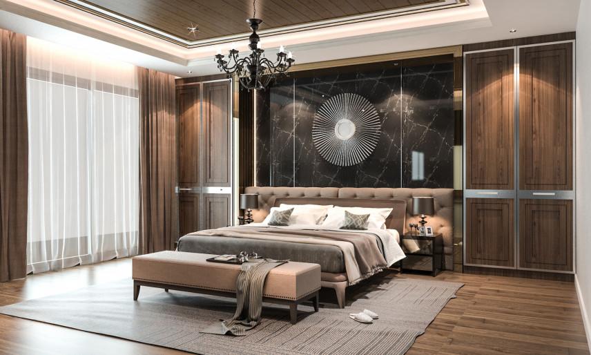Projekt sypialni w zabudowie w stylu toskańskim