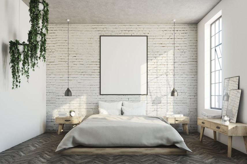 Aranżacja sypialni z cegłą