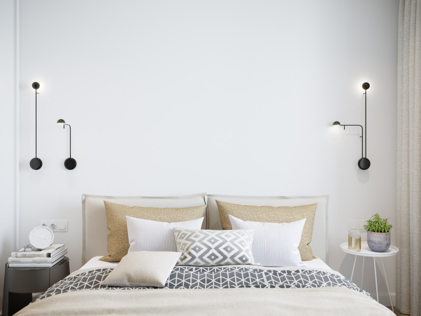 Projekt sypialni z kinkietami