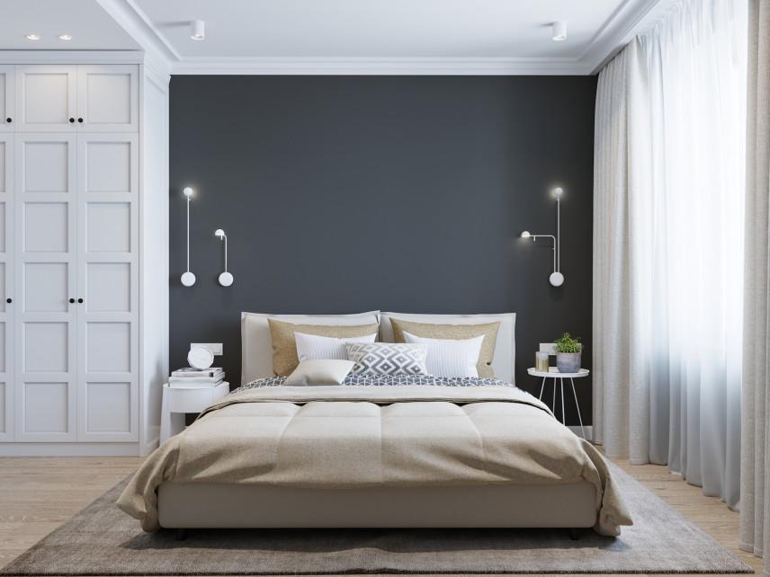 Kontrastowa sypialnia
