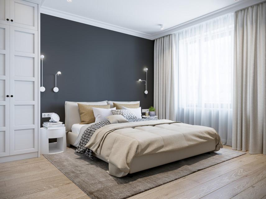 Aranżacja sypialni z granatową ścianą