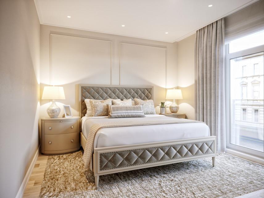 Mała sypialnia z łóżkiem kontynentalnym