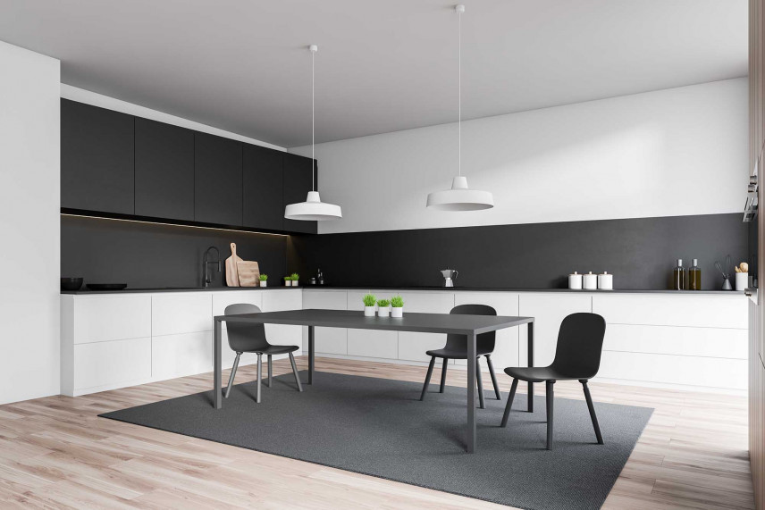 Nowoczesna czarno-biała kuchnia narożnikowa