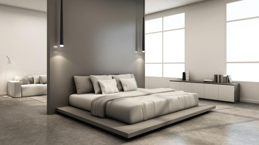 Projekt sypialni oddzielonej ścianą nośną