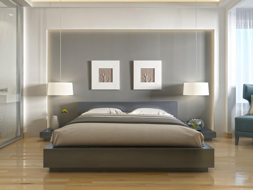 Klasyczna sypialnia z szarą ścianą