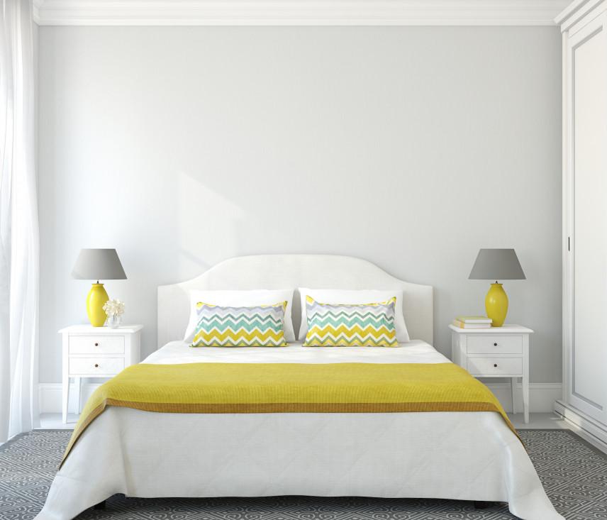 Sypialnia z żółto-szarymi dodatkami
