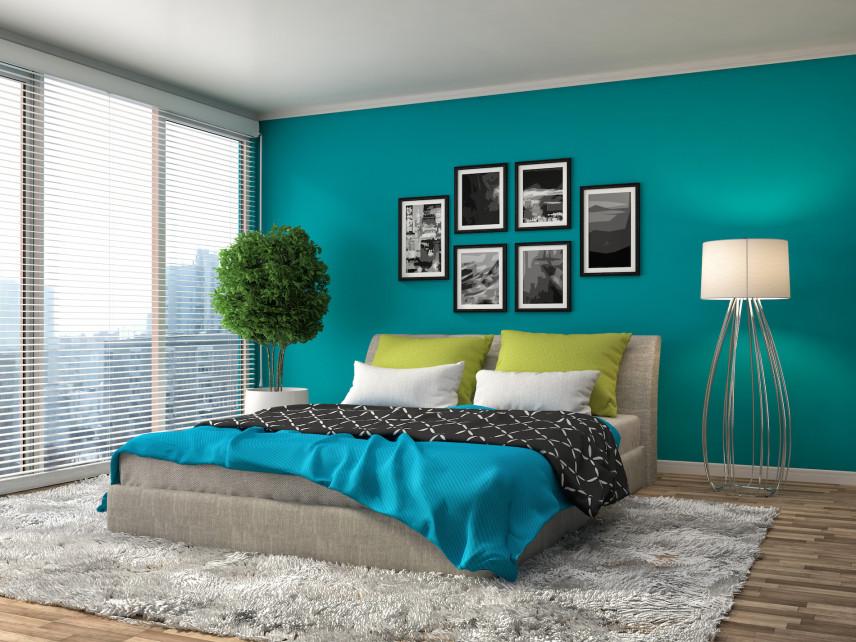 Pastelowa zieleń w sypialni