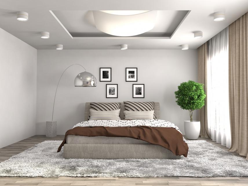 Projekt sypialni ze stylową lampą