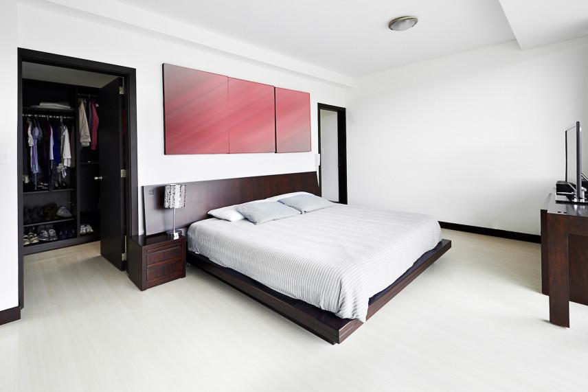 Projekt białej sypialni z garderoba