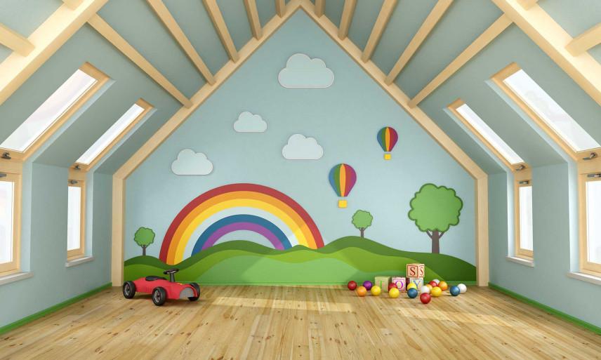 Kolorowy pokój dla dziecka na poddaszu
