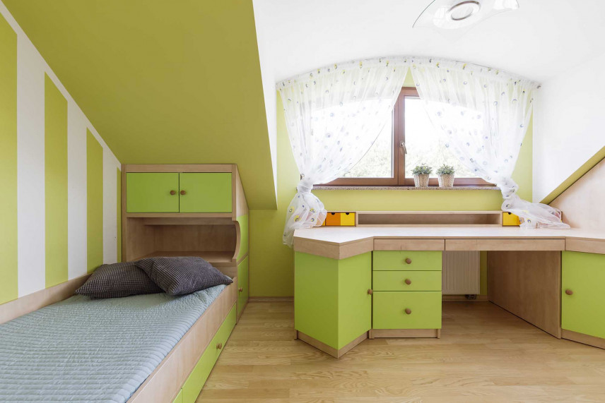 Zielony pokój na poddaszu