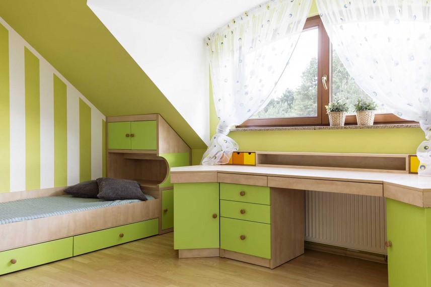 Zielony pokój dla nastolatka