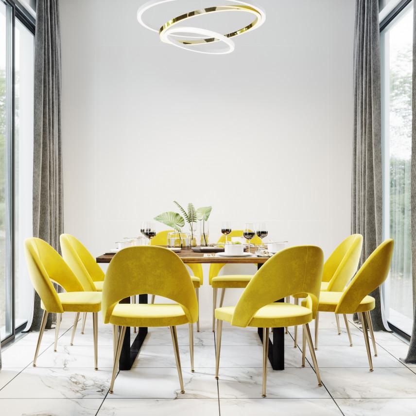 Żółte, tapicerowane krzesła w jadalni