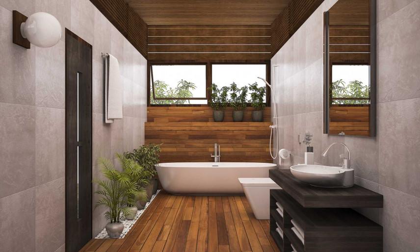 Nowoczesna łazienka z drewnianą ścianą