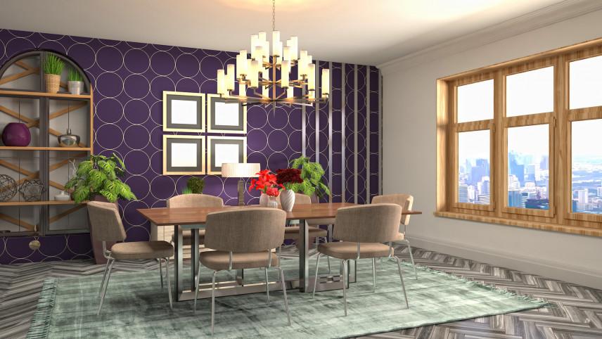 Jadalnia z fioletowymi ścianami
