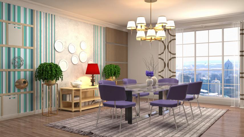 Aranżacja jadalni z fioletowymi krzesłami