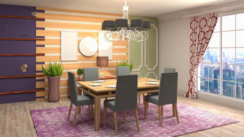 Aranżacja jadalni z kolorową ścianą