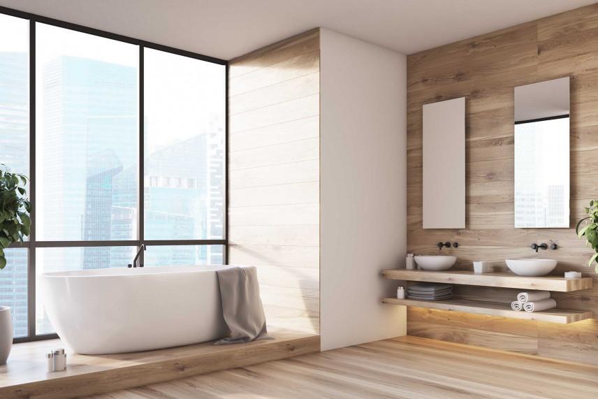 Łazienka w stylu skandynawskim z wielkim oknem