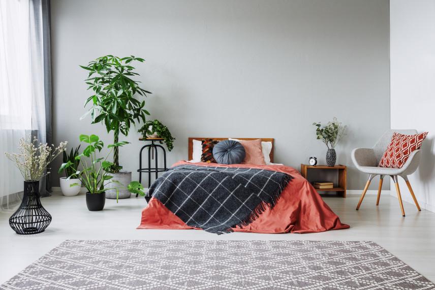 Nowoczesna sypialnia z jasnoszarą ścianą