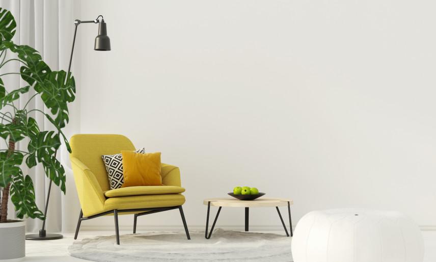 Meble w salonie w kolorze żółtym