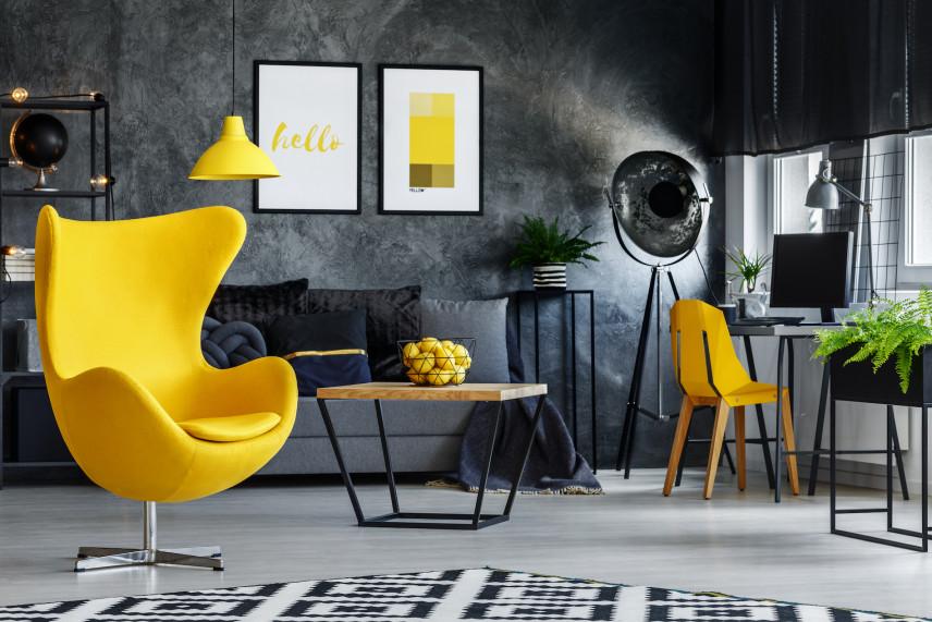 Stylowy salon z szarymi ścianami